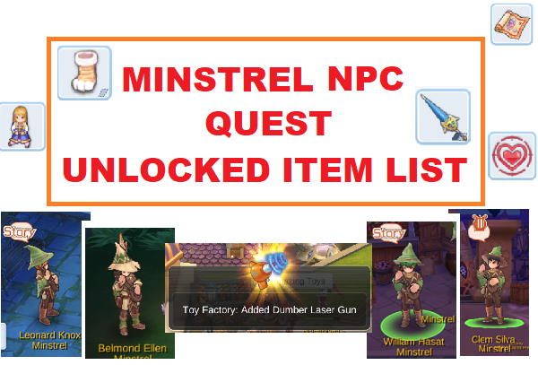 Minstrel Quest, NPC & Unlocked Item List